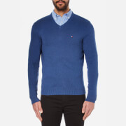 Tommy Hilfiger Men's Pima Cotton Cashmere V Neck Jumper - Nocturnal Heather