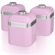 Swan Retro Canisters - Pink (Set of 3)