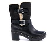 UGG Women's Brea Clog Suede Buckle Boots - Black