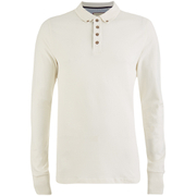 Brave Soul Men's Lincoln Long Sleeve Polo Shirt - Ecru