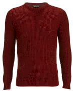 Kensington Eastside Men's Auldhome Textured Crew Neck Jumper - Oxblood