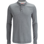 Tokyo Laundry Men's Lake Nevada Long Sleeve Polo Shirt - Mid Grey Marl