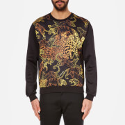 Versace Jeans Men's Front and Back Printed Crew Neck Sweatshirt - Black