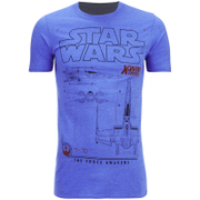 Star Wars Mens X-Wing Schematic T-Shirt - Heather Royal