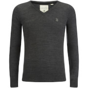 Soul Star Men's Alpha V Neck Jumper - Charcoal Melange