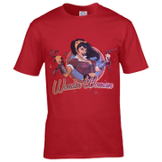 DC Comics Men's Bombshell Wonder Woman Logo T-Shirt - Red