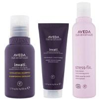 Aveda Invati Shampoo und Spülung (Reisegröße) mit Stress-Fix Körperlotion