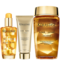 Kérastase Elixir Ultime Huile Lavante Bain 250ml, Elixir Ultime Fondant Conditioner 200ml and Original Hair Oil 100ml Bundle