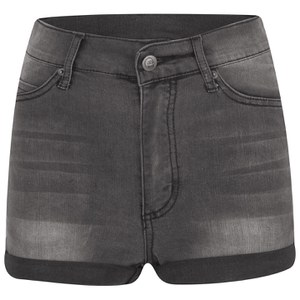 Cheap Monday Women's 'Short Skin' High-Waist Denim Shorts - Grey