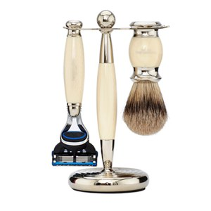 Truefitt & Hill Edwardian Badger Fusion Razor, Brush and Stand Set - Faux Ivory