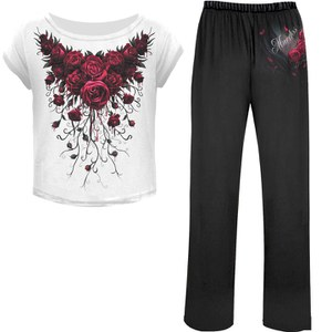 Spiral Women's BLOOD ROSE 4 Piece Gothic Pyjama Set