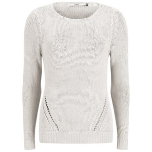 ONLY Women's Assisi Light Knitted Jumper - White