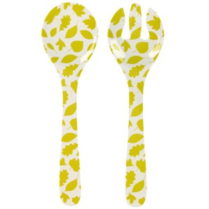 Anorak Woodland Leaves Melamine Salad Servers - Green/White