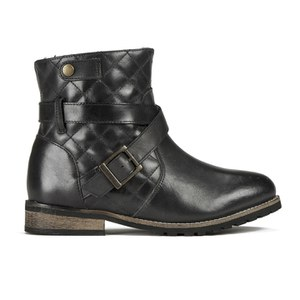Barbour International Women's Hetton Quilted Leather Biker Boots - Black
