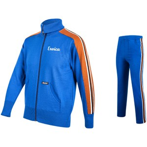 Santini Eroica 70s Wool Training Zip Fastening 2015 Heritage Series Track Suit - Blue