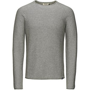 Jack & Jones Men's Originals Paul Knitted Crew Neck Jumper - Light Grey Melange