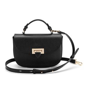 Aspinal of London Women's Letterbox Saddle Bag - Black Pebble