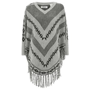 ONLY Womens Ethno Poncho - Pumice Stone