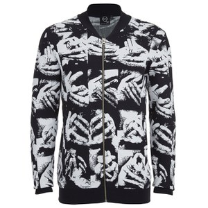 McQ Alexander McQueen Men's Zip Through Hand Jacquard Knitted Cardigan - Black/White