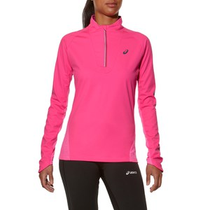 Asics Women's Long Sleeve Windblock 1/2 Zip Running Top - Pink Glow