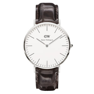 Daniel Wellington Classic York 36mm Silver Watch - Croc Brown