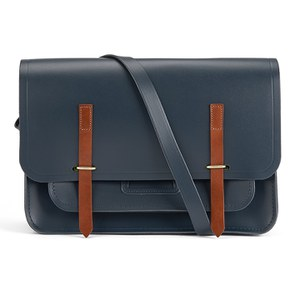 The Cambridge Satchel Company Men's Bridge Closure Bag - Navy withTan