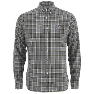 Maison Kitsuné Men's Check Classic Shirt with Embroidered Fox - Grey Melange