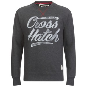 Crosshatch Men's Grabit Crew Neck Sweatshirt - Black Navy