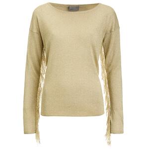 Vero Moda Women's Katie Long Sleeve Fringe Blouse - Oatmeal