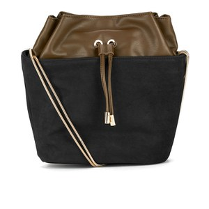 French Connection Women's Fashion Bucket Bag - Black/Olive/Lime Yellow