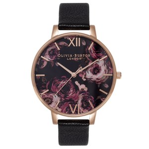 Olivia Burton Women's Painterly Prints Watch - Black/Rose Gold