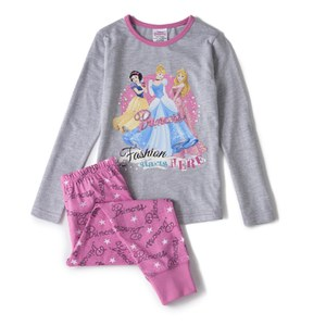 Disney Princesses Girl's Long Sleeve Pyjamas - Pink/Grey
