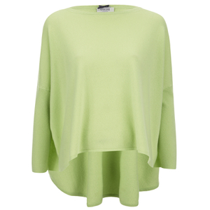 Cocoa Cashmere Women's Round Neck Longer Back Jumper - Lime