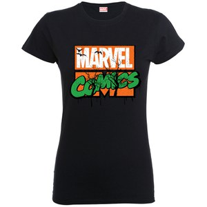 Marvel Women's Comics Halloween Logo Shirt - Black