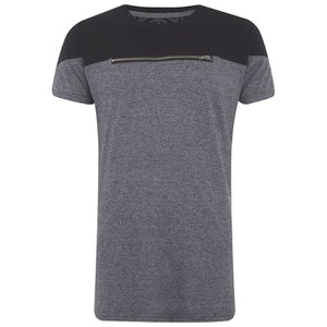 Eclipse Men's Ruskin Zip Chest Cut and Sew T-Shirt - Grey/Black