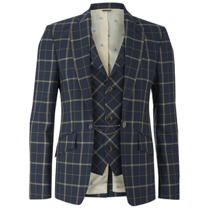 Vivienne Westwood MAN Men's Tea Wool Tartan Waiscoat Jacket - Navy