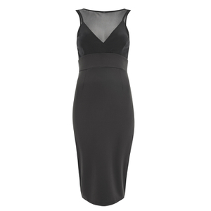 Lavish Alice Women's Mesh Overlay Bodycon Midi Dress - Black