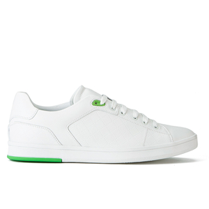 BOSS Green Men's Ray Check Leather Trainers - White
