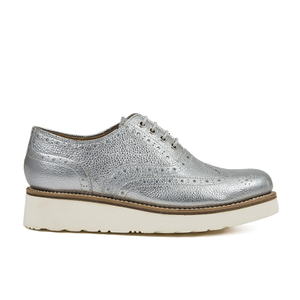 Grenson Women's Emily V Grain Leather Brogues - Silver