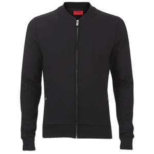 HUGO Men's Donso Baseball Collar Zip Top - Black