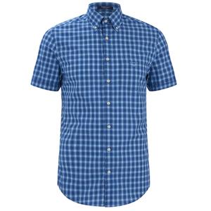 GANT Men's Dogleg Poplin Check Short Sleeve Shirt - Sage Blue