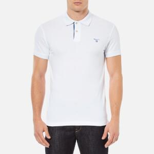 GANT Men's Contrast Collar Pique Polo Shirt - White