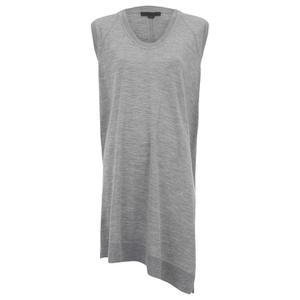 Alexander Wang Women's V Neck Tank Dress with Asymmetric Hem - Grey Melange