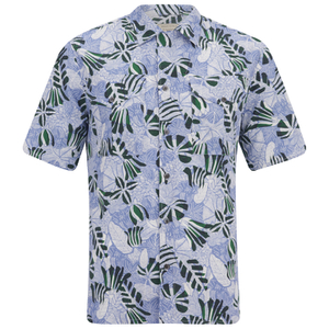 Maison Kitsuné Men's Hibiscus Safari Short Sleeve Shirt - Emerald Sky