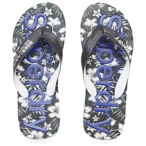 Superdry Men's Aop Flip Flops - Optic Black/Deco Blue