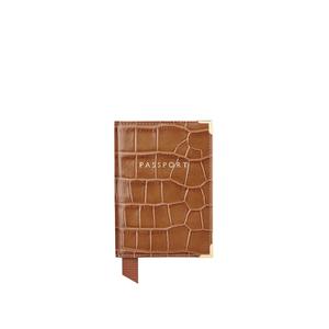 Aspinal of London Women's Passport Cover Purse - Tan Croc