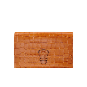Aspinal of London Travel Wallet - Tan Croc