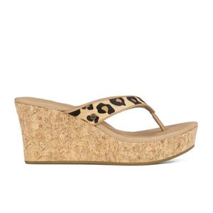 UGG Women's Natassia Calf Hair Leopard Wedged Sandals - Chestnut Leopard