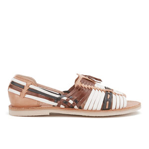 Chamula Women's Uxmal Slip-On Leather Sandals - Natural/Multi