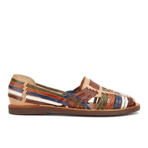 Chamula Women's Brasilia Slip-On Leather Sandals - Natural/Multi